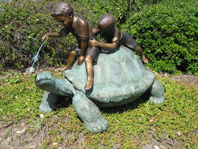 2 Boys Playing on a Turtle