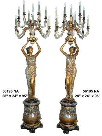 Bronze Lady Rising Candlestick On Base (Pair)