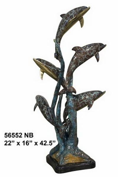 Bronze Dolphins Statue