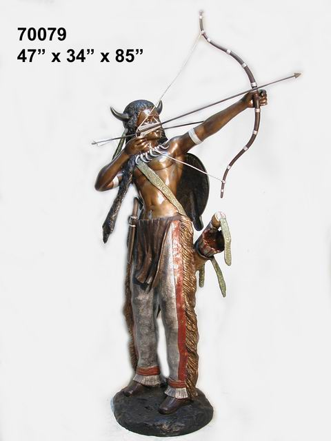 Bronze Indian with Bow Statue