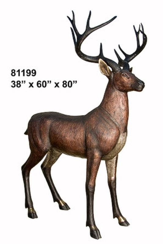 Lovely Bronze Deer Buck Statue
