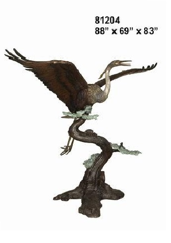 Bronze Crane Flying