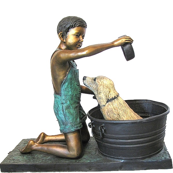 Bronze Boy washes Dog