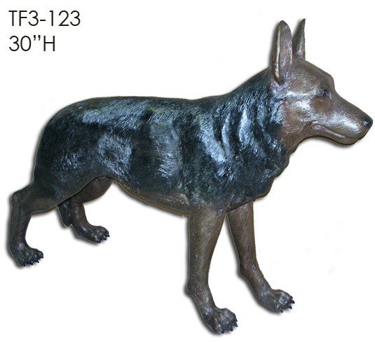 Bronze German Shepherd Dog Statue