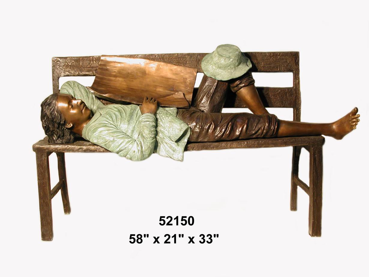Bronze Boy Sleeping on Bench with Newspaper