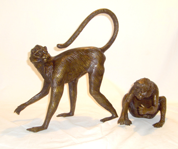 Bronze Couple Spider Monkey