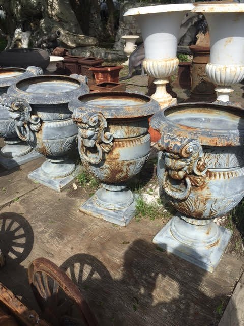 Cast Iron Urn Planter With Lion Head Handles