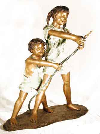 """ Bronze Boy and Girl with a Hose "" Fountain"