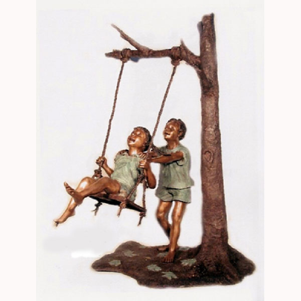 Bronze Kids On A Tree Swing