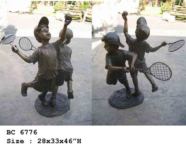 Bronze Boys Playing Tennis