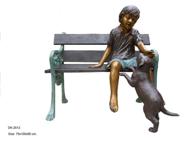 Boy with Dog on Bench