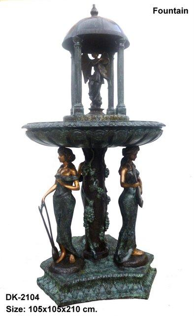Dome Fountain with 3 Ladies on Base