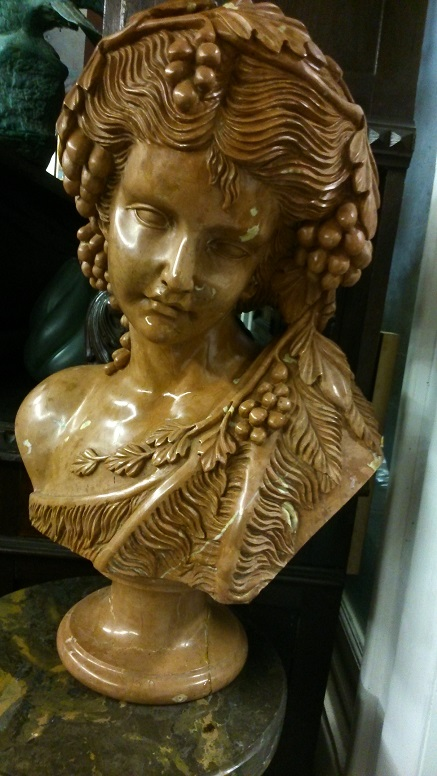 Marble Bust of Young Girl with Grape leaves