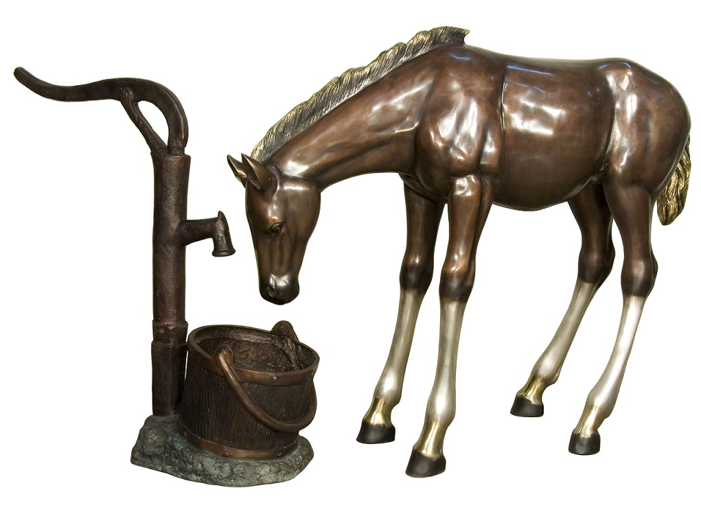 Bronze Baby Colt at the Water Pump (2 piece set)