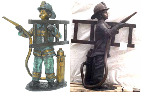 Bronze Boy Playing as a Fireman