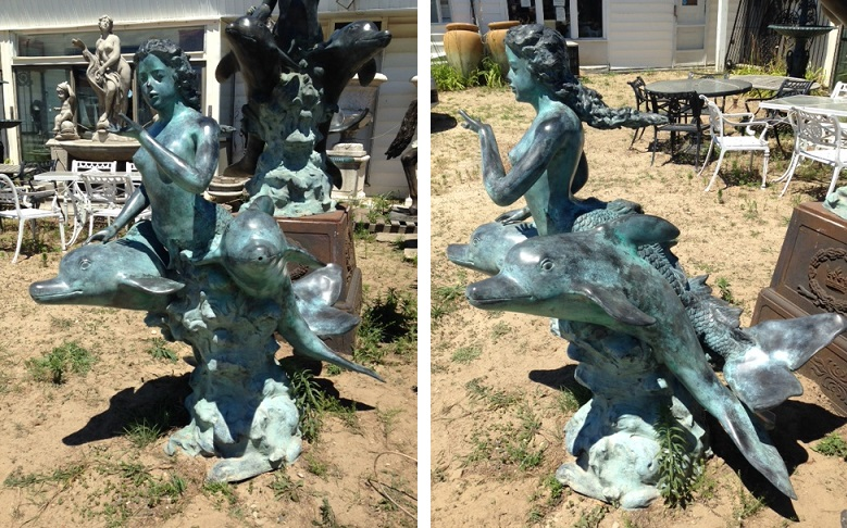 Bronze / Green Patina Mermaid Riding Dolphins