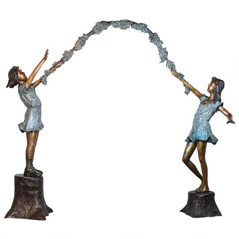 2 Girls Holding an Arbor Wreath (3 piece set)