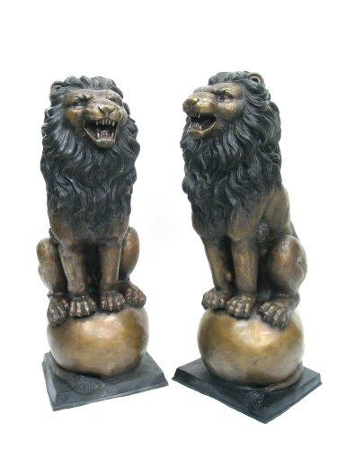 Bronze Sitting Lions On Ball