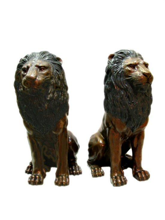 Bronze Sitting Lions Statue (Pair)
