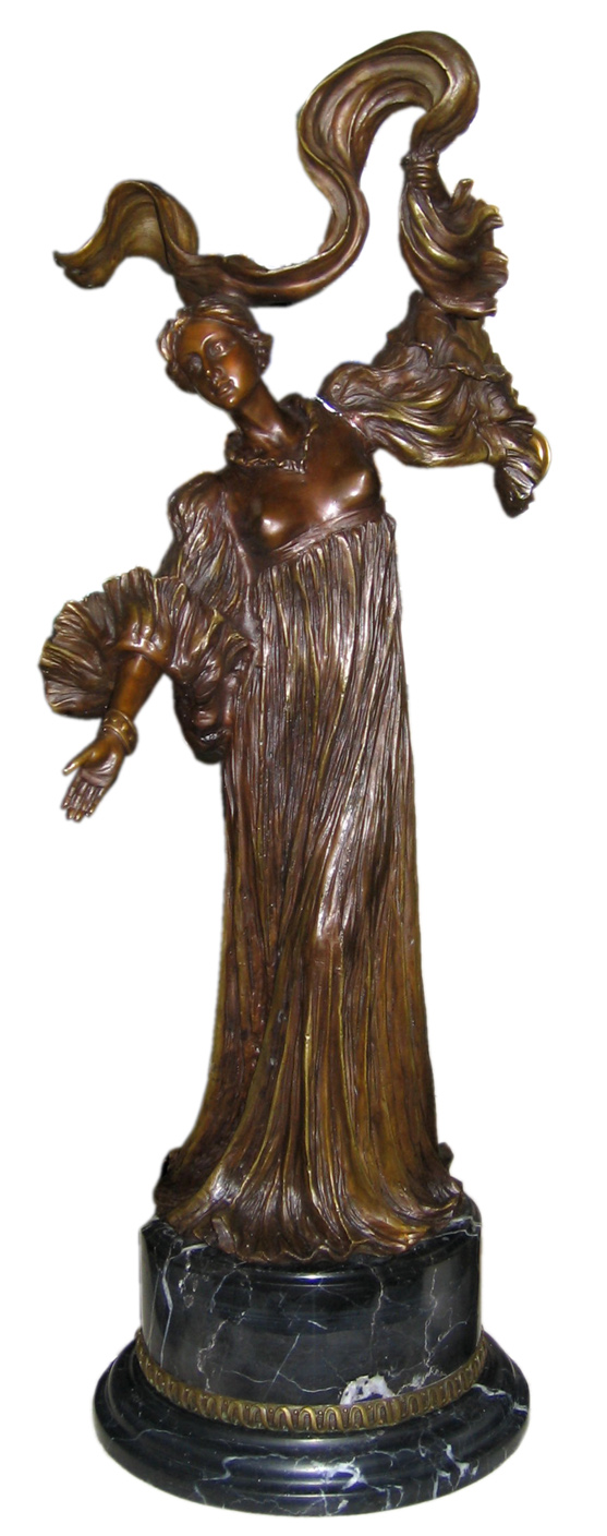 BRONZE LADY WITH SCARF