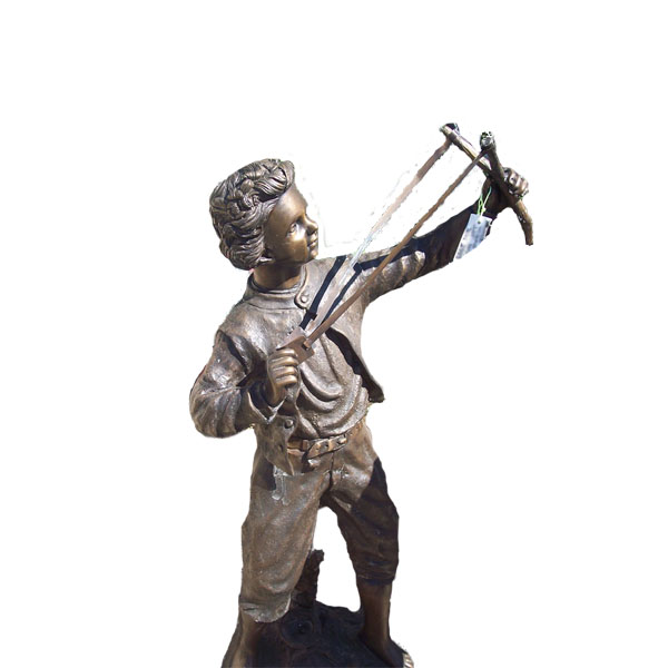 Bronze Boy Shooting Slingshot