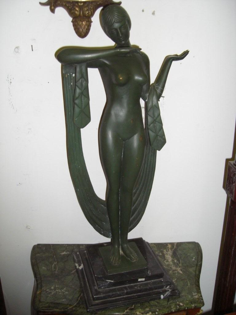 Bronze Nude Verdigris Statue on marble base