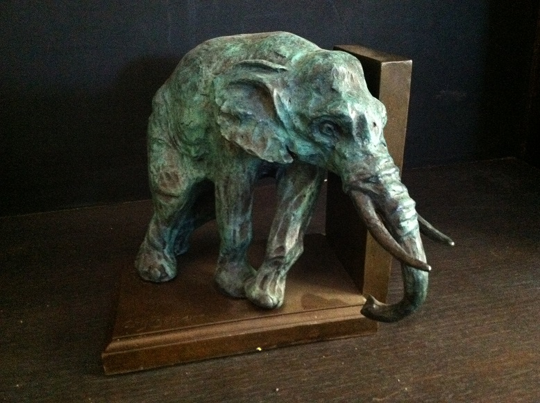Bronze Elephant Book End