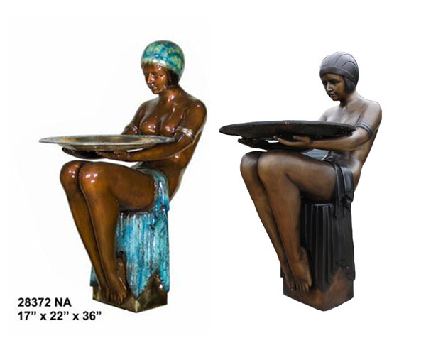 Bronze sitting Woman with Tray