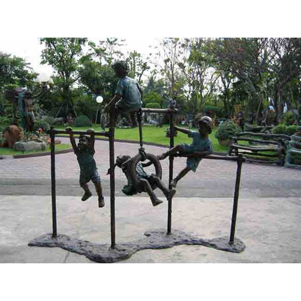 Bronze Kids playing on Monkey Bars