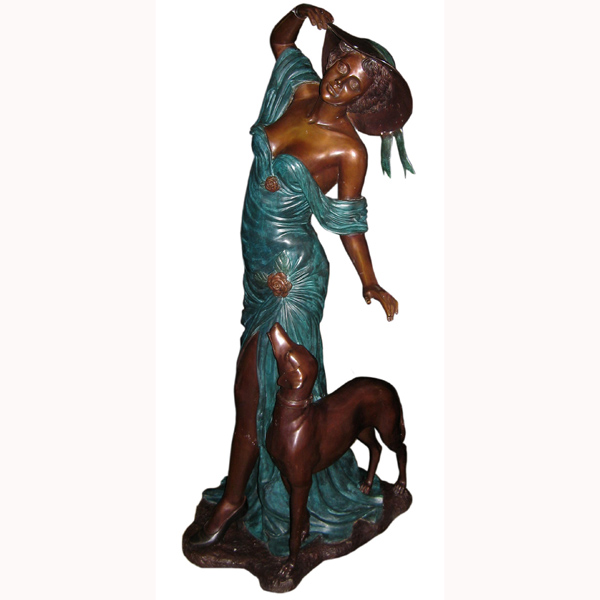 Bronze Girl with Dog