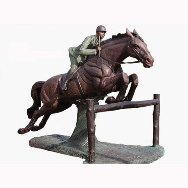 Bronze Jumping Horse with Rider Ht.97 in L.131 in W.82 in