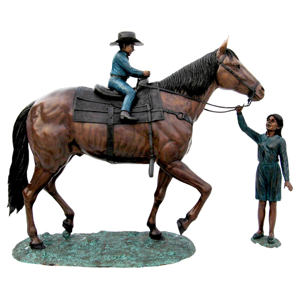 Bronze Horse with Cowboy