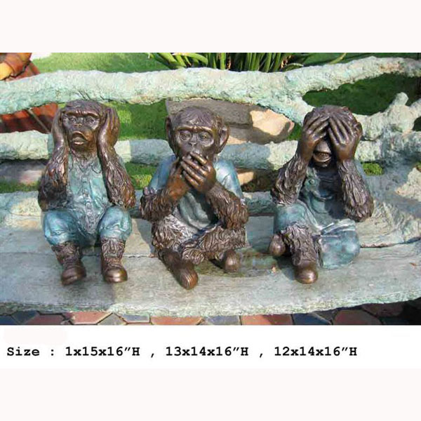 "Set of 3 Bronze "" Monkey, see, hear speaks no evil """