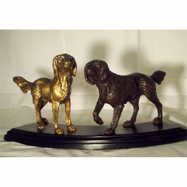 Bronze Dogs with Pedestal