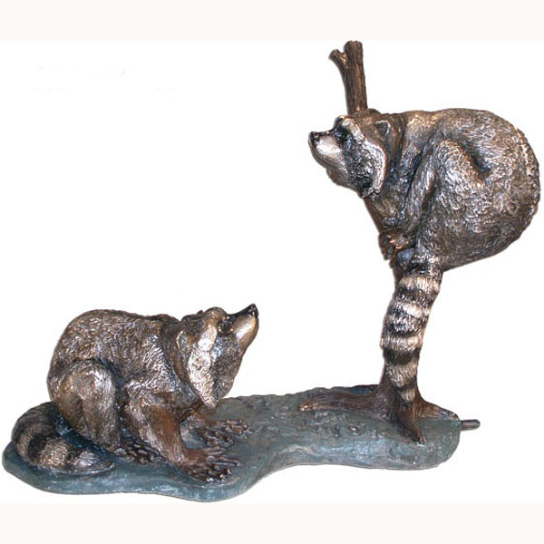 Bronze Two Raccoons on a Log