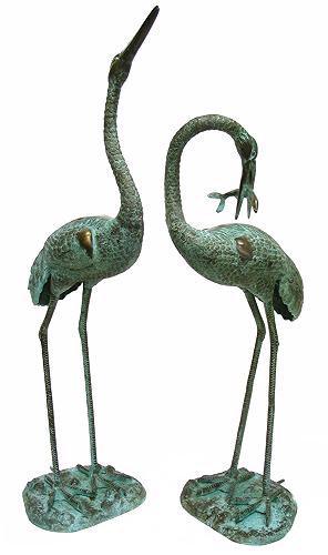 Bronze Standing Cranes Fountain ( PAIR )