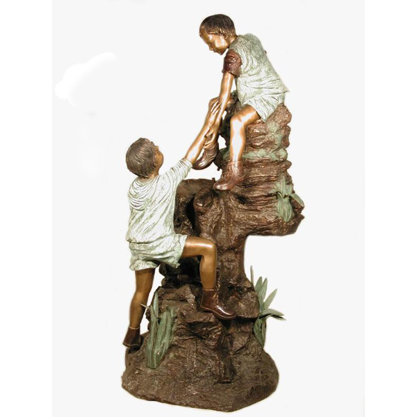 Bronze Boys Climbing Stump