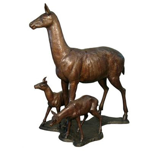 Bronze Doe and Baby Deer