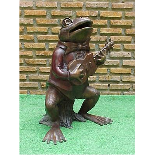 Bronze Frog With Guitar Fountain