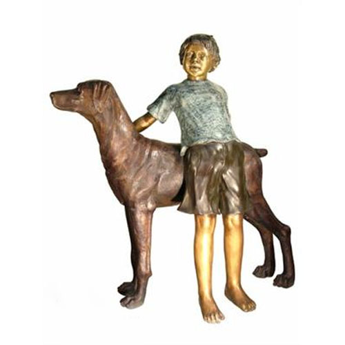Bronze Boy With His Dog