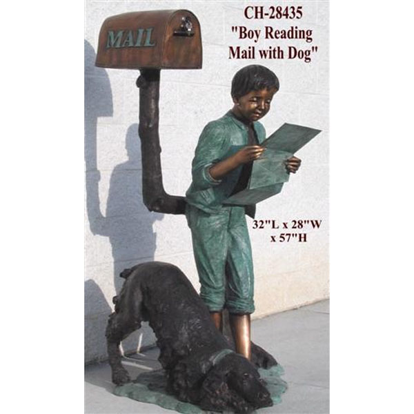 Bronze Boy Reading His Mail with His Dog