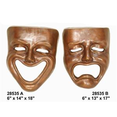 Pair of Bronze Home Theater Masks