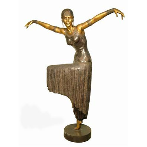 Bronze Deco Lady Raising Hands