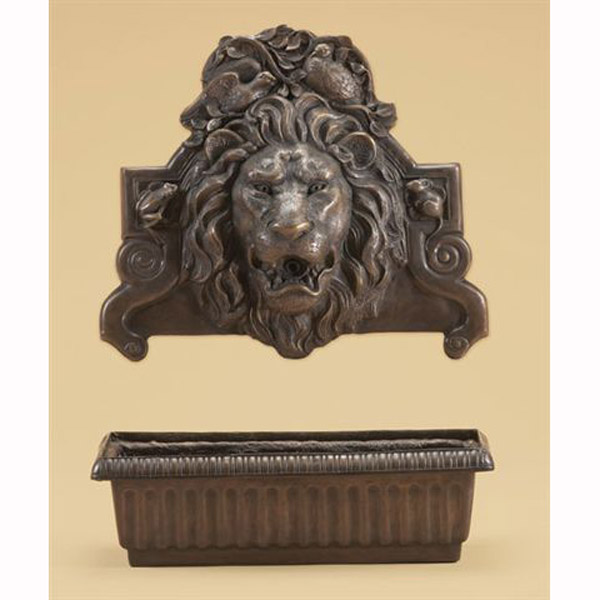 Bronze Lion Wall Fountain with Bowl