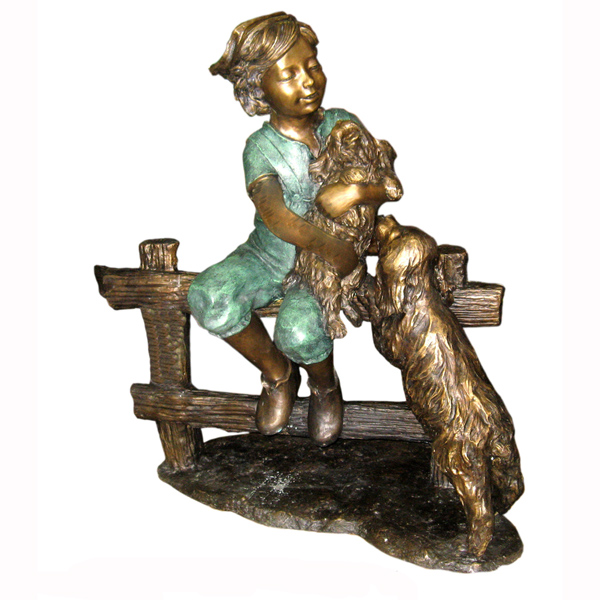 Bronze Boy with two Dogs