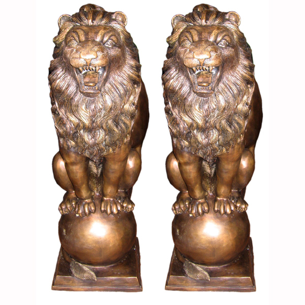 Bronze Lion's on Ball