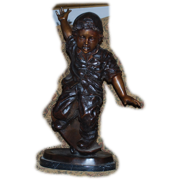 Bronze Boy on SkateBoard