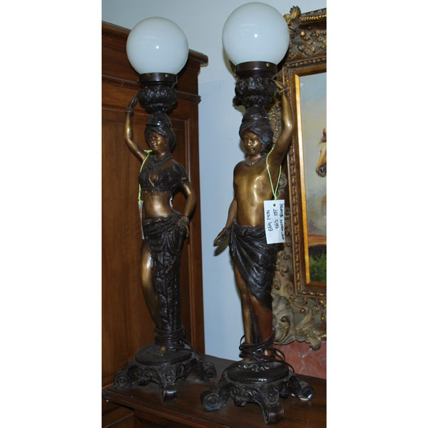 Bronze Woman Lamp Pair