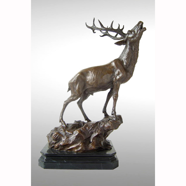 Bronze Elk with marble Base