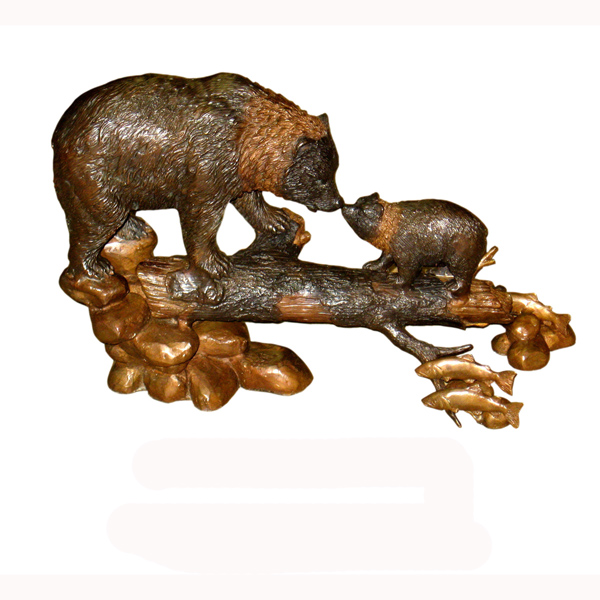 Bronze Family of Bear watching Fish